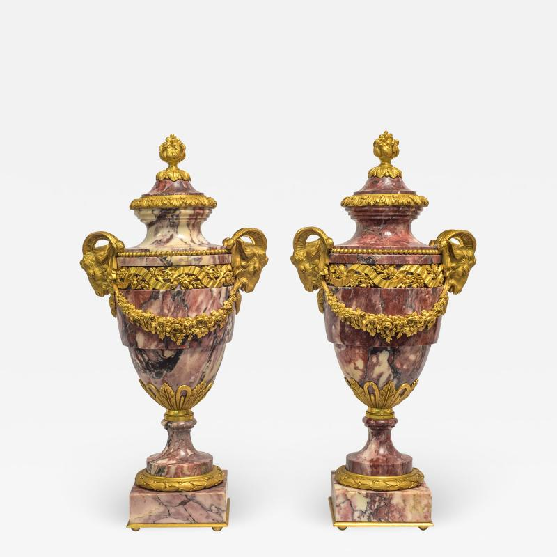 A Fine Quality Pair of Rouge Marble and Gilt Bronze Urns