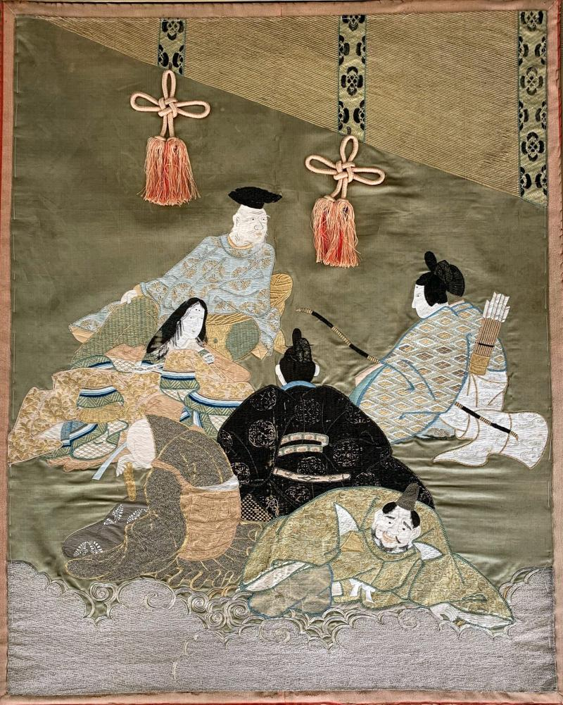 A Framed Japanese Embroidery Textile Art from Meiji Period