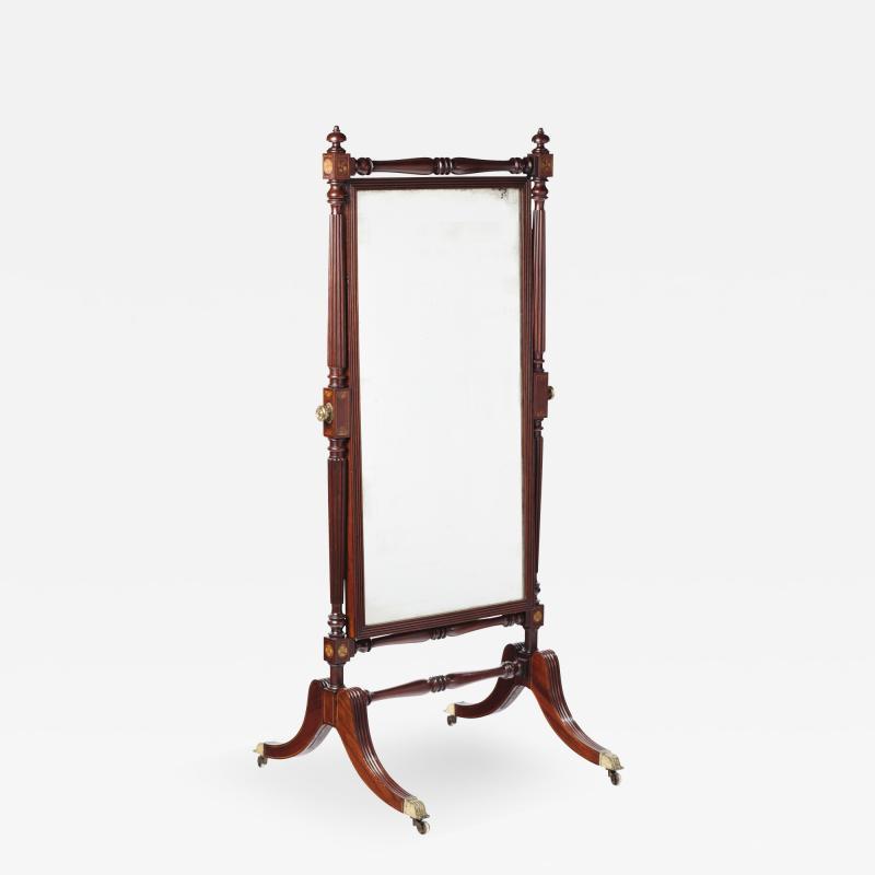 A George IV Mahogany Cheval Mirror