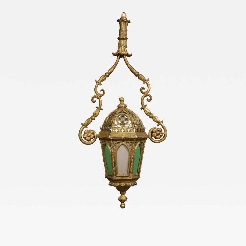 A Giltwood And Colored Glass Lantern in the Neo Gothic Taste