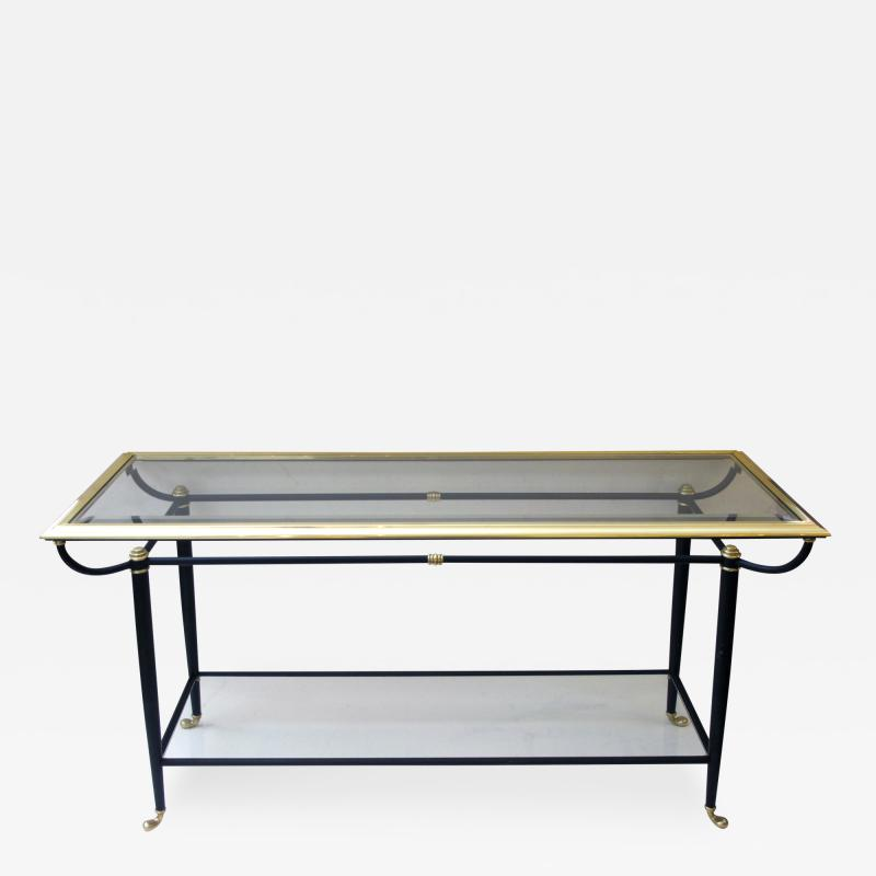 A Good Quality French Black and Metal Console Table