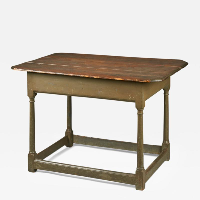 A Grey Painted Hard Pine Stretcher Base Table Mid 18th Century