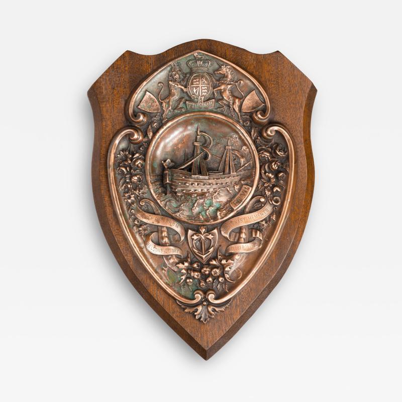 A HMS Victory centennial copper shield