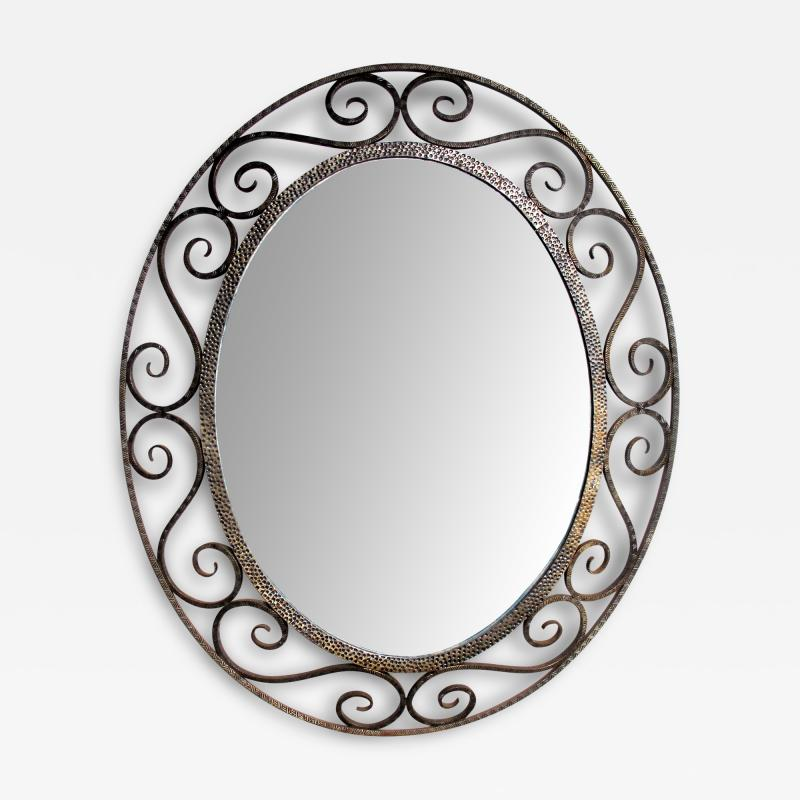 A Hand Crafted French Art Deco Iron Oval Mirror Style of Edgar Brandt