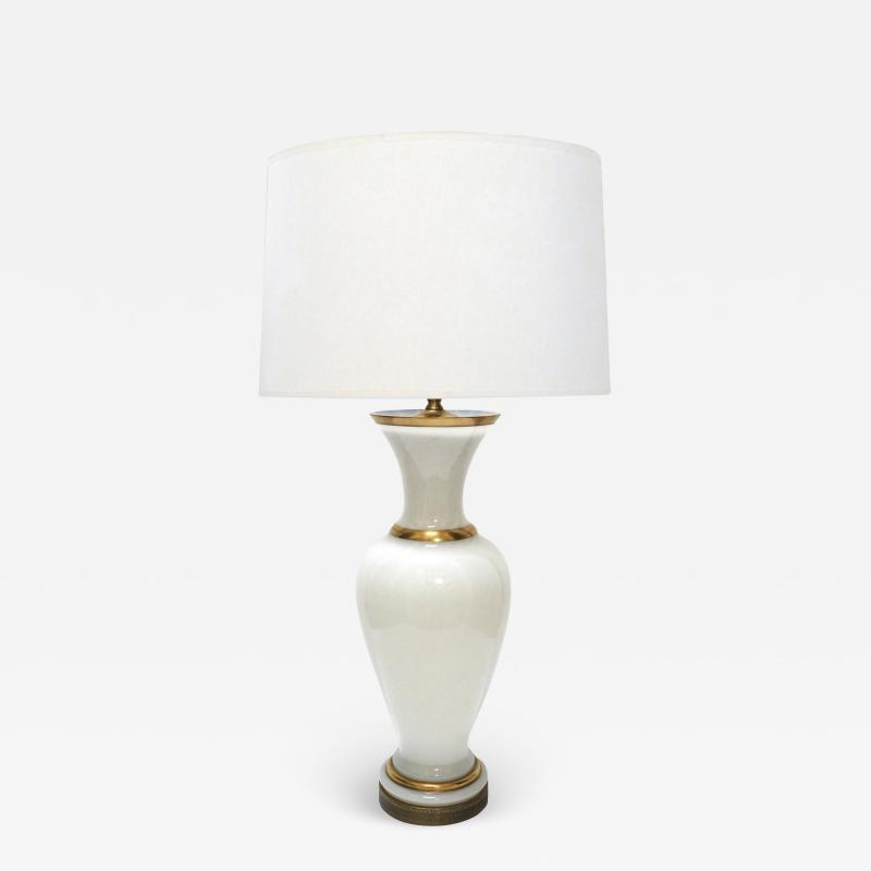 A Large French 1960s White Opaline Glass Lamp with Gilt Highlights