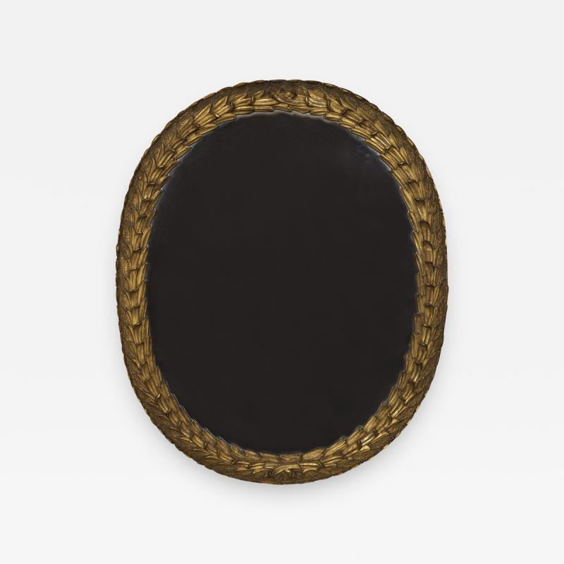 A Large Oval Giltwood Mirror Carved With Bulrush And Textured Grotto Decoration