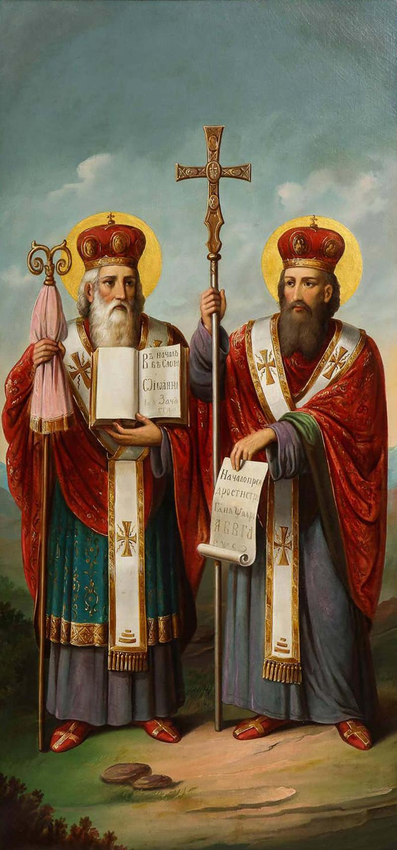 A Large Russian Oil on Canvas Painting of Two Bishops