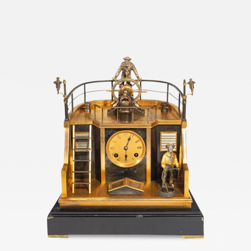 A Late 19th century French novelty quarterdeck mantel clock by Guilmet Paris