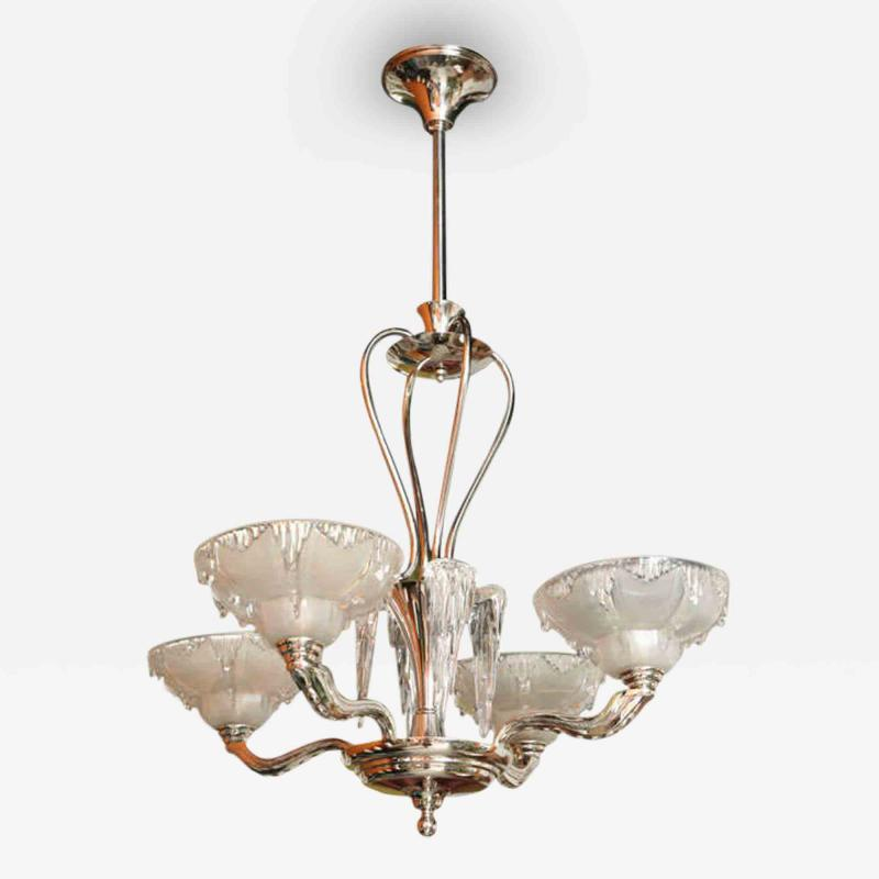 A Late Art Deco Nickel and Frosted Glass Icicle Chandelier