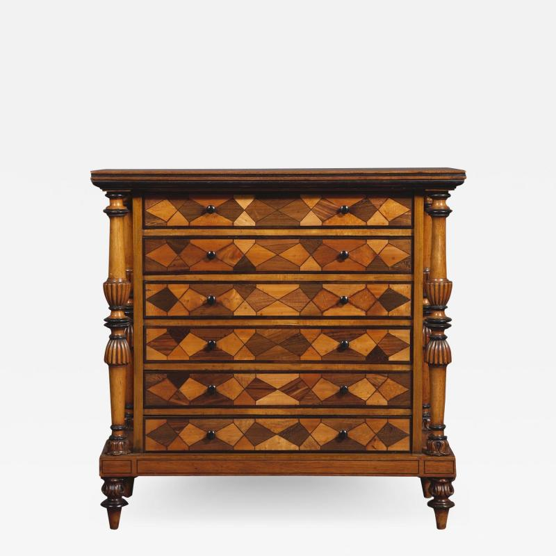 A Late George IV Geometric Inlaid Specimen Woods Commode