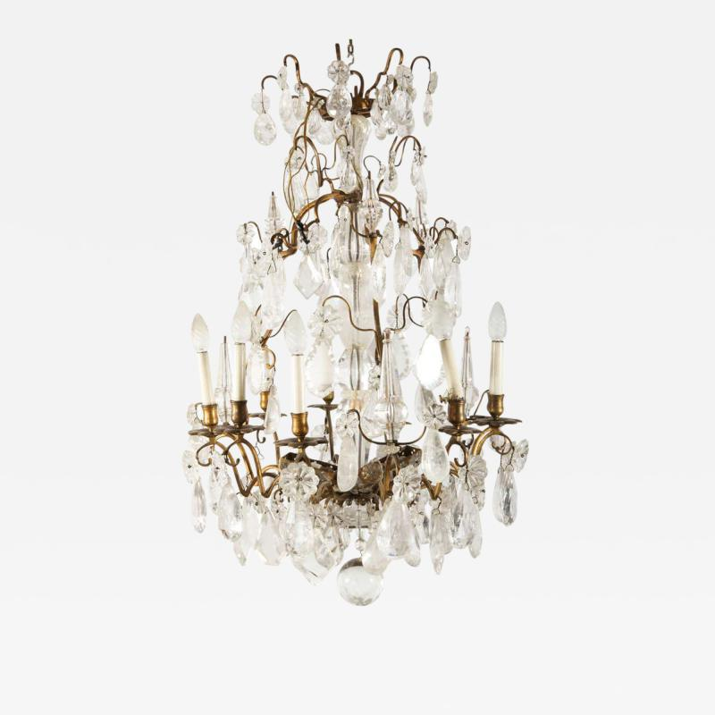 A Louis XV period gilded bronze rock crystal chandelier
