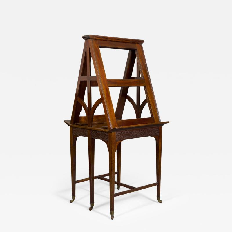 A Mahogany George V Retractable Folio Stand Or Easel With Fretwork Decoration