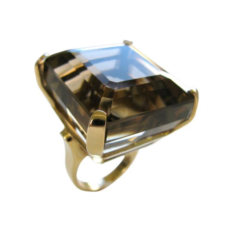 A Massive Gold and Smoky Quartz Retro Ring c 1950