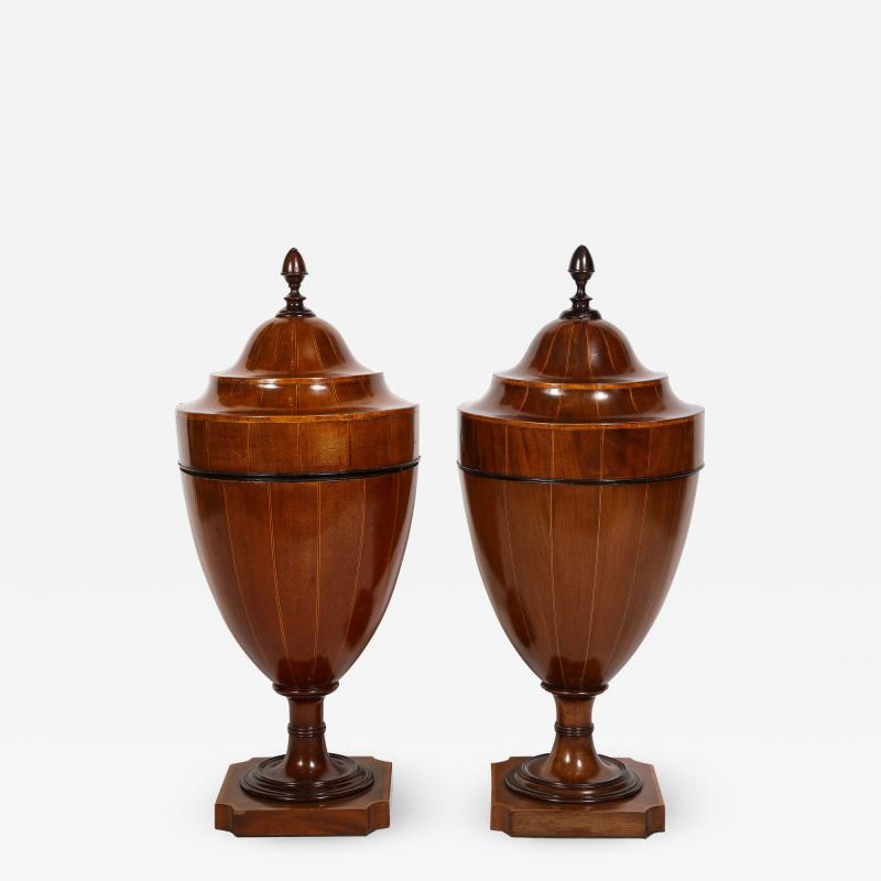 A Matched Pair of English Mahogany Cutlery Urns