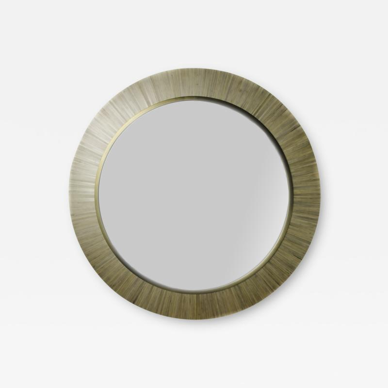 A Modernist round mirror executed in meticulous straw marquetry contemporary