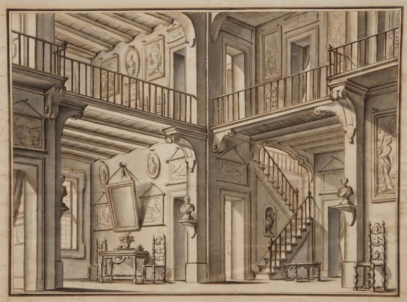 A Monochromatic Watercolor Ink on Paper of A Double Level Atrium Interior