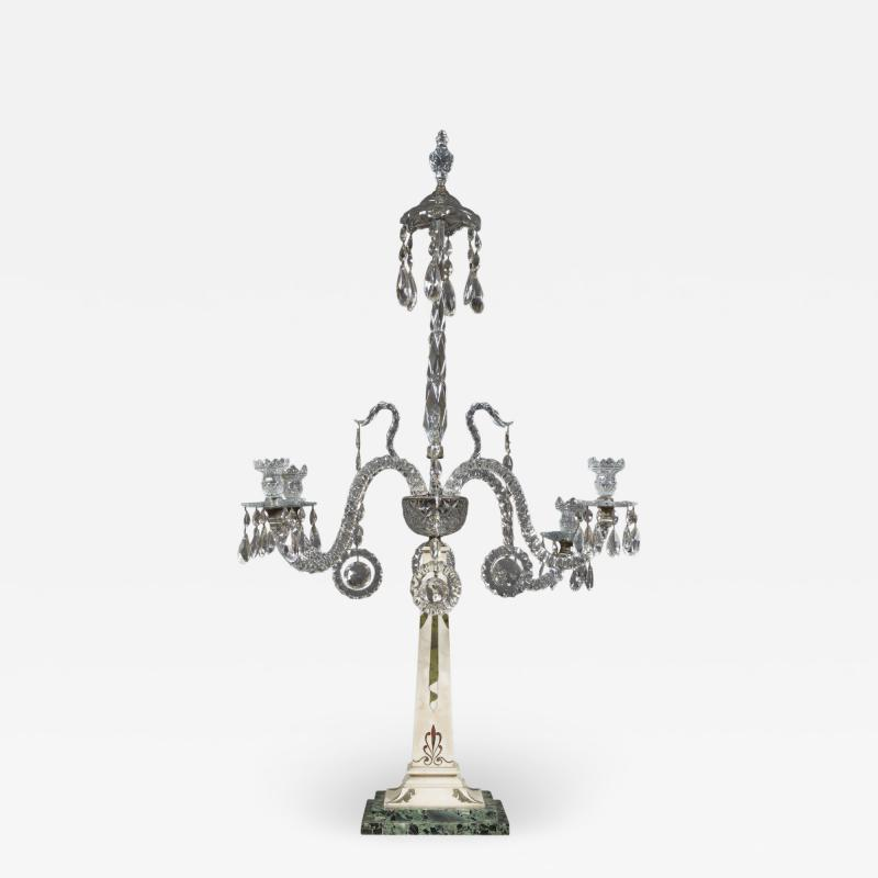 A Monumental Pair Of Inlaid Candelabra With Four Light Crystal Upper Sections