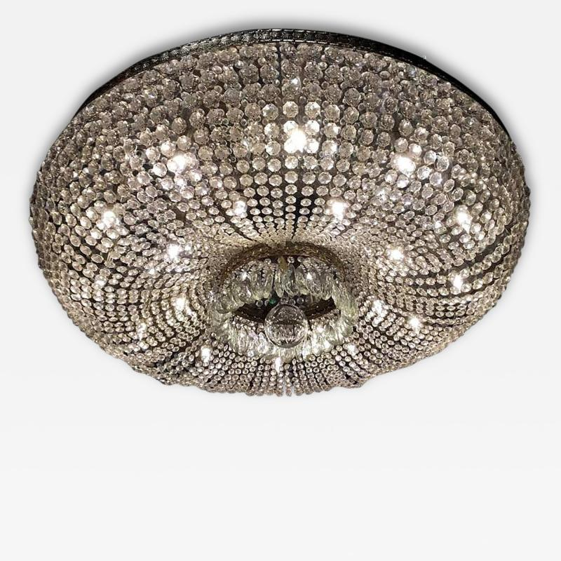 A Monumental and Spectacular Crystal Basket Chandelier