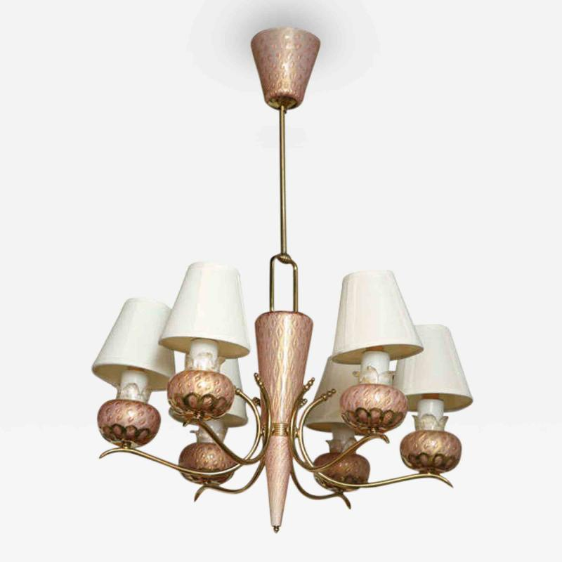 A Murano 6 Arm Glass and Brass Chandelier