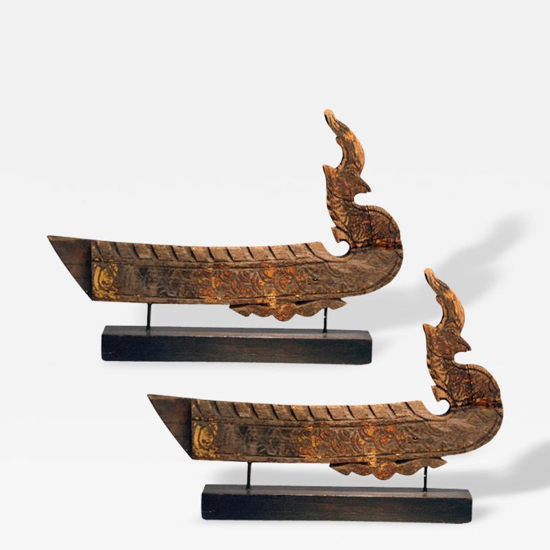 A Near Pair of Antique Hong Bird Roof Carvings Thailand
