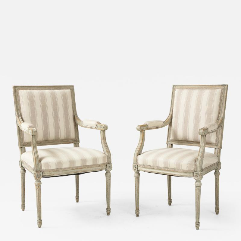 A Near Pair of Swedish Late Gustavian Style Painted Open Armchairs Circa 1870s