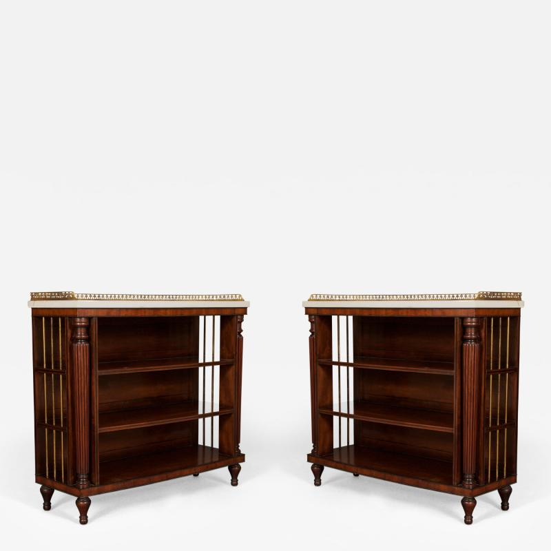 A Pair Bow Fronted Figured Mahogany Dwarf Open Display Shelves or Bookcases