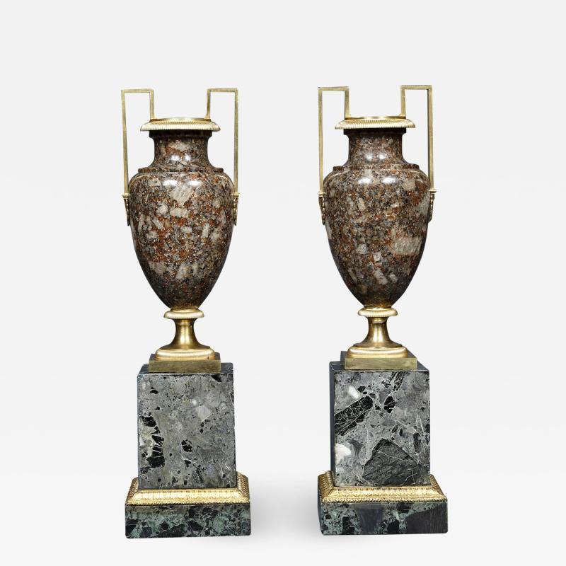 A Pair Of Gilt Bronze Mounted Specimen Porphyritic Granite Vase