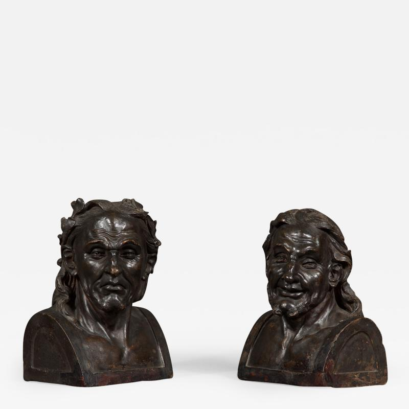 A Pair Of Glazed Terracotta Busts Depicting Two Greek Philosophers