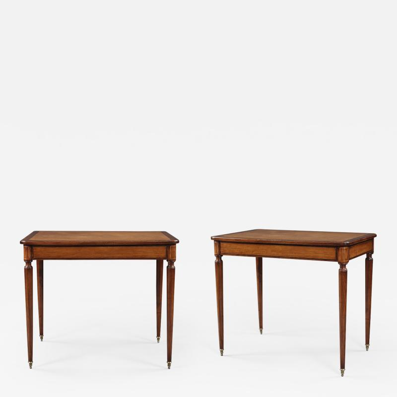 A Pair Of Mahogany And Birds Eye Maple Occasional Tables In The Directoire Taste