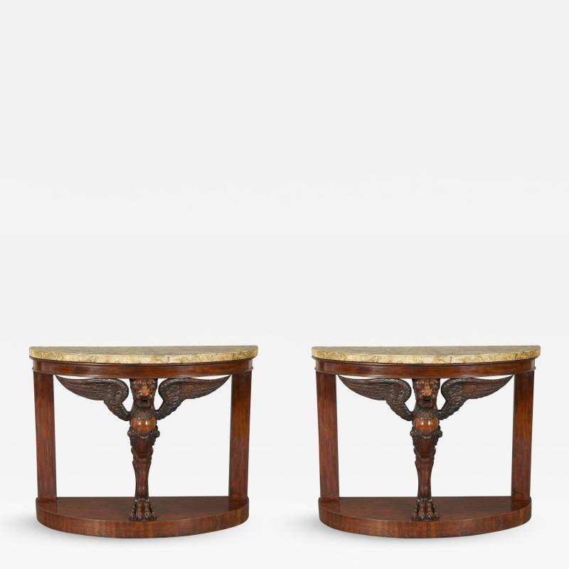 A Pair Of Mahogany Console Tables Bearing Fine Alabastro Fiorito Veneered Tops