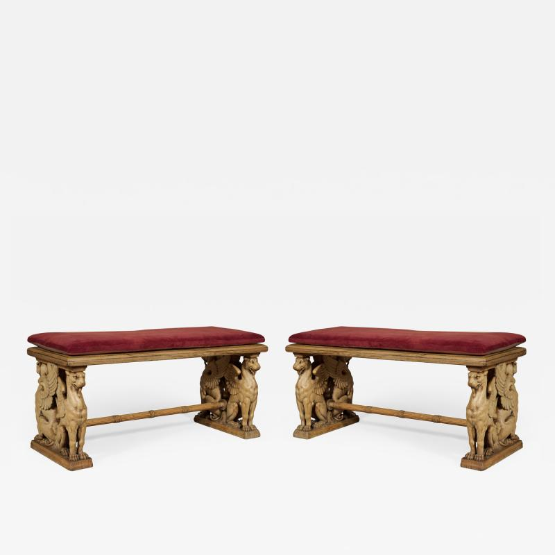 A Pair Of Neoclassical Oak Benches With Well Carved Monopodiae Supports