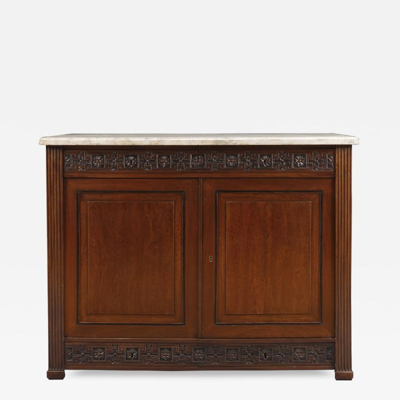 A Pair Of Neoclassical Two Door Cabinets With Marble Tops