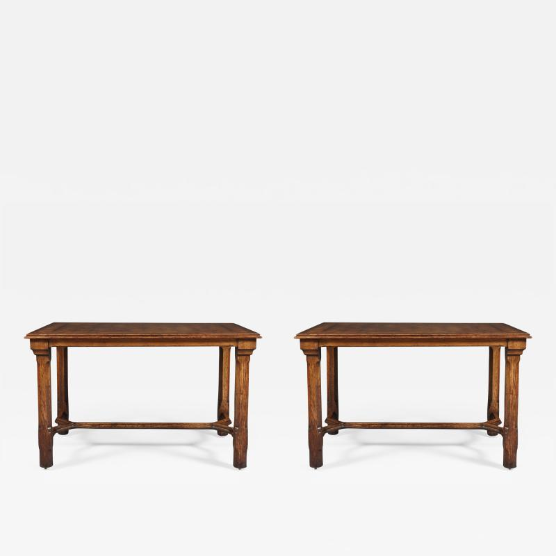 A Pair Of Oak Parquetry Veneered Center Tables By Howard Sons