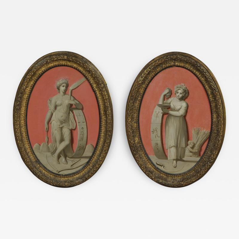 A Pair Of Oval Oil Paintings Depicting Two Of The Seasons
