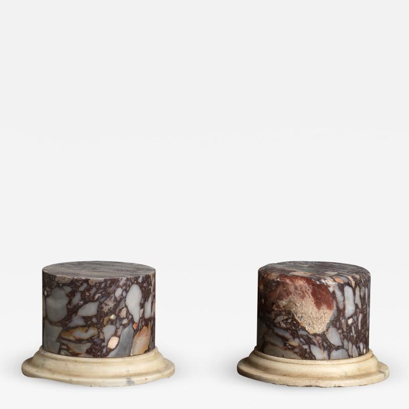 A Pair Of Sculpture Specimen Breccia Marble Pedestals Italian