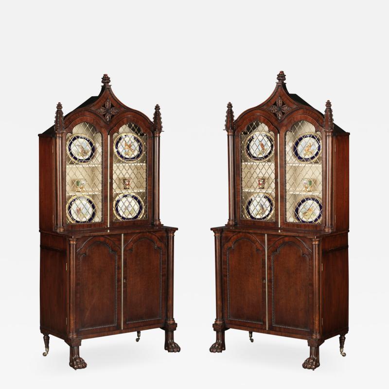 A Pair Regency Mahogany Display Cabinets