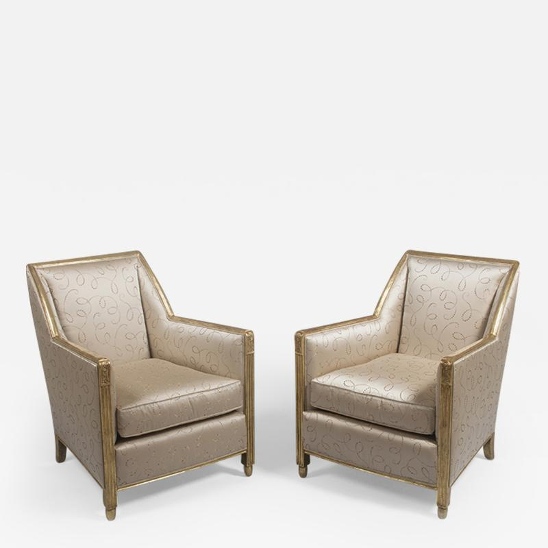 A Pair of Carved and Gilt Art Deco Club Chairs by Dim