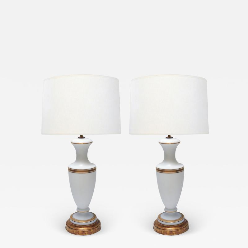 A Pair of French 1960s White Frosted Glass Lamps with Gilt Highlights