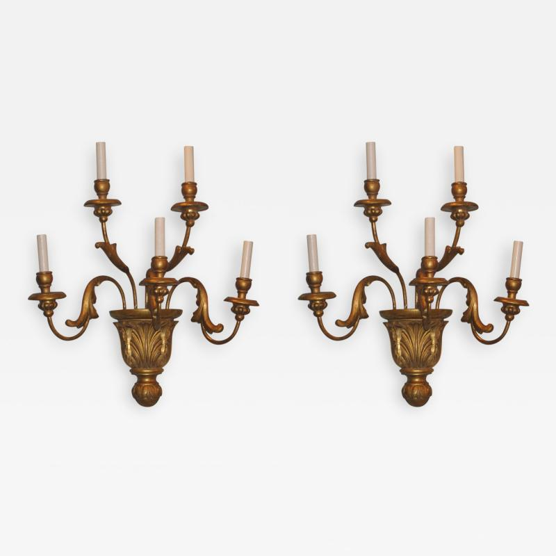 A Pair of Gilded Wood Sconces with Five Lights featuring acanthus leaves