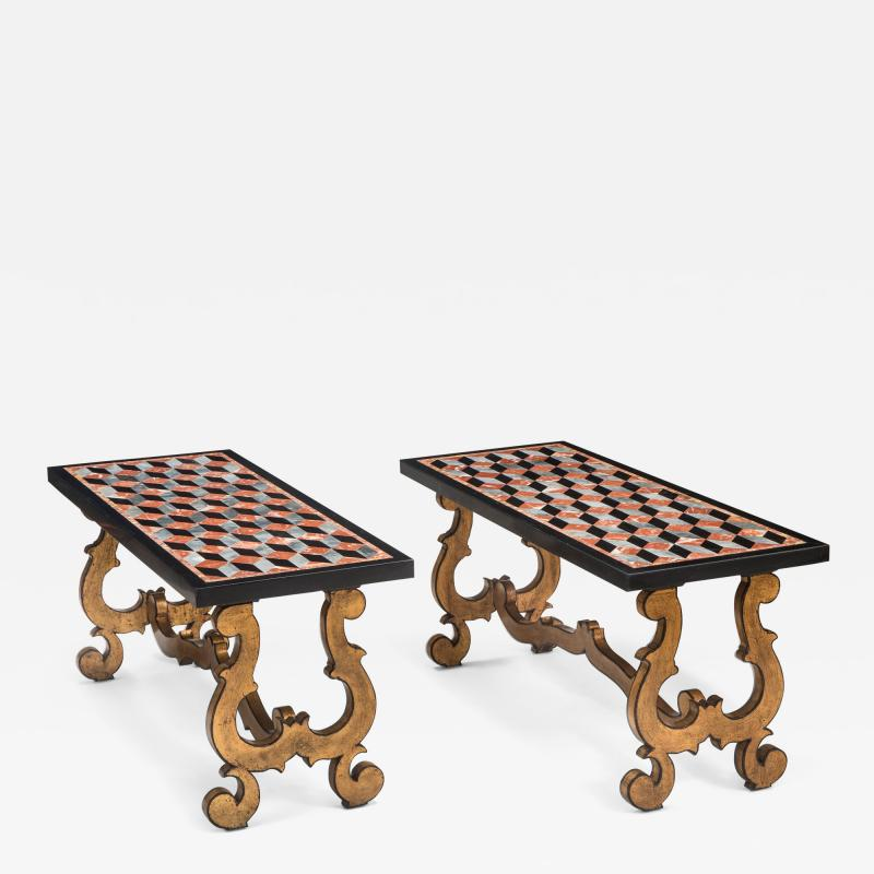 A Pair of Italian Pietra Dura Marbles Now with Later Coffee Table Bases