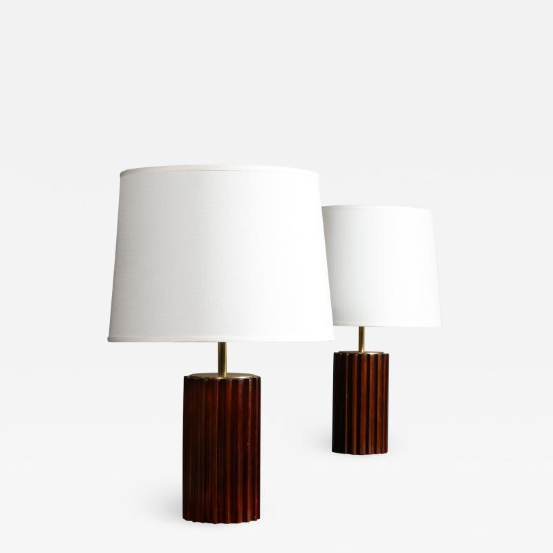 A Pair of Mahogany Cuban Lamps