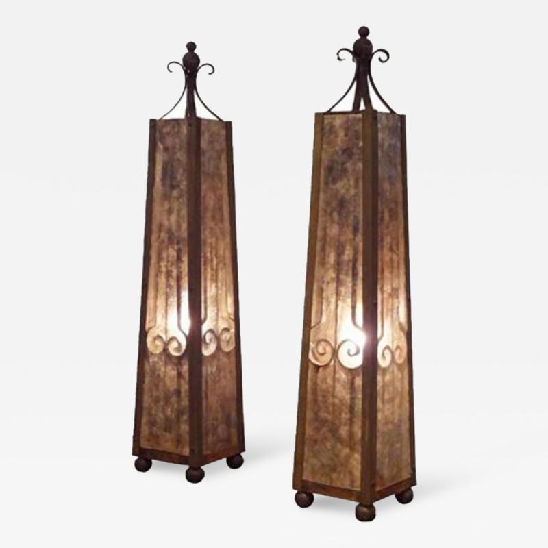 A Pair of Obelisk Shaped Table Lamps in Mica and Wrought Iron