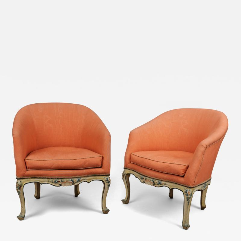 A Pair of Painted Wood Tub Chairs poltrone a pozzetto