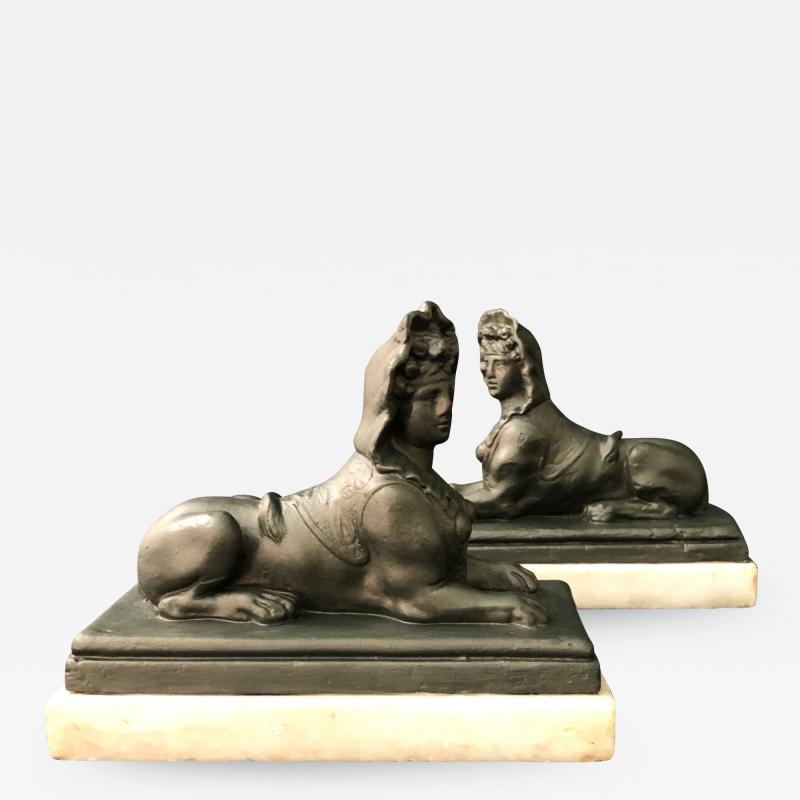 A Pair of Plaster Sphinxes