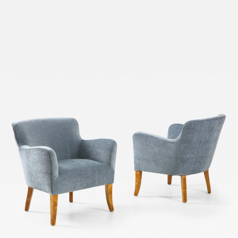 A Pair of Swedish Birchwood and Upholstered Club Chairs Circa 1940s