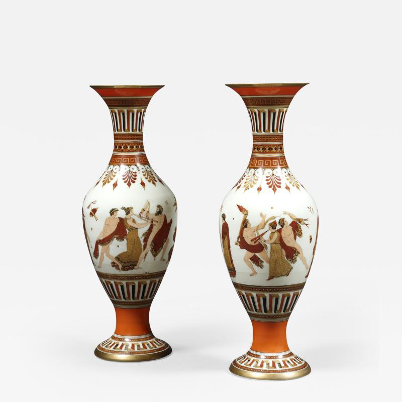 A Pair of White Opaline Glass Polychrome Enamel Vases In The Etruscan Style