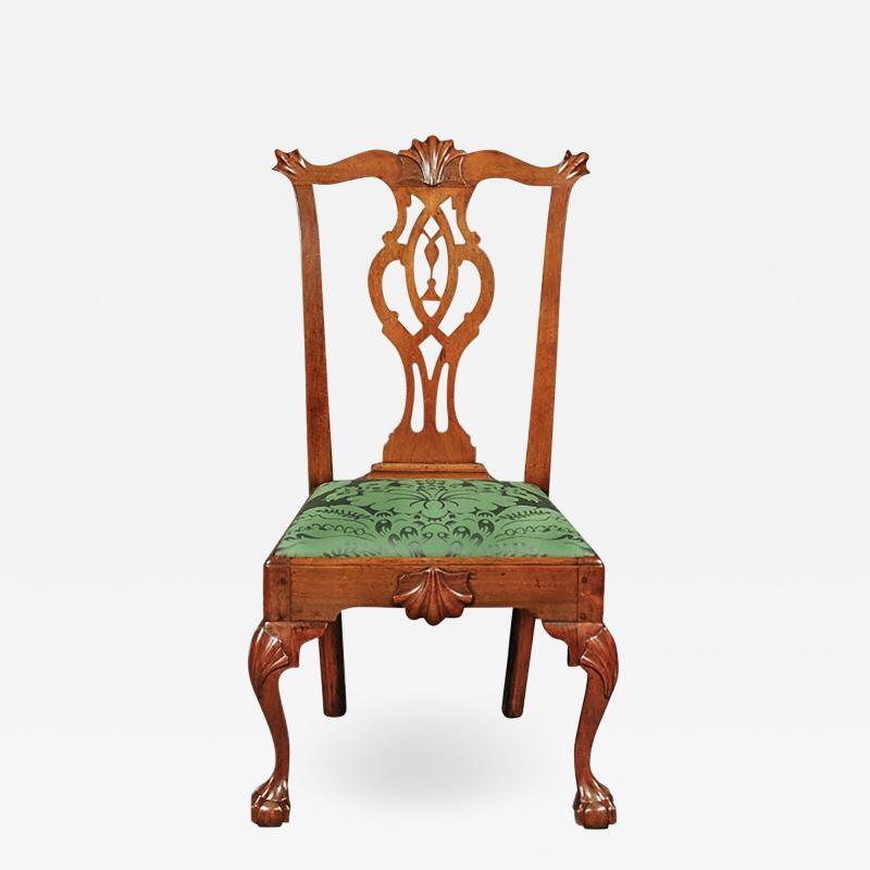 A Philadelphia walnut tassel back side chair