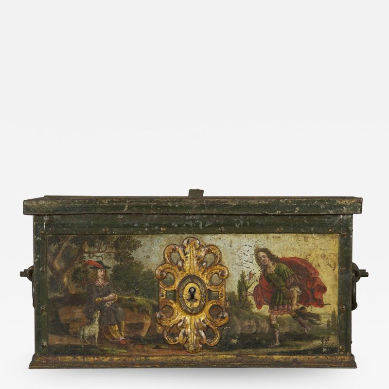 A Polychrome Painted Iron And Engraved Blued Steel Strongbox Of Small Scale