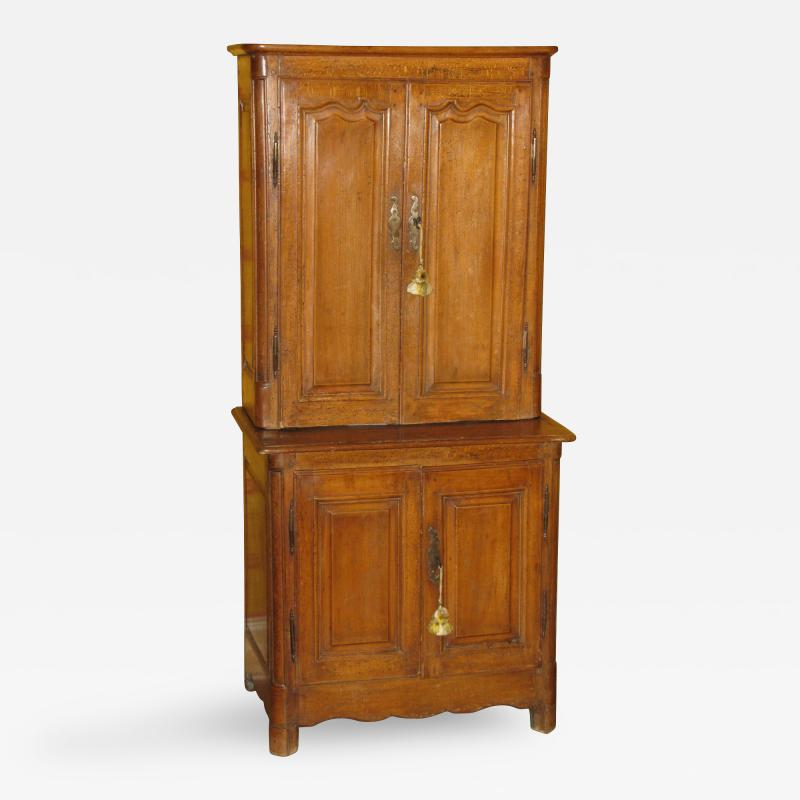 A Rare Beech Wood Unusually Small Cabinet Deux Corps