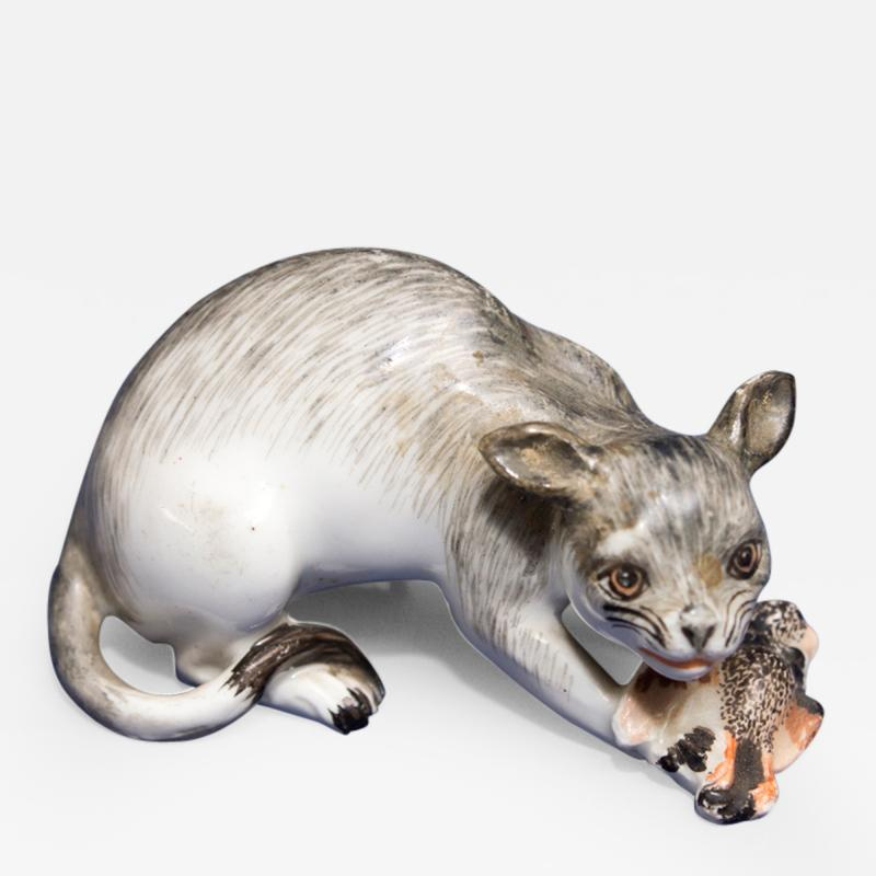 A Rare Meissen Model of a Wildcat with Prey